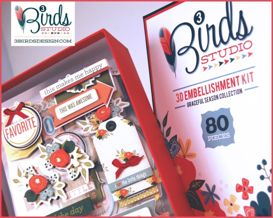 3 Birds Graceful Season 3D Embellishment Kit