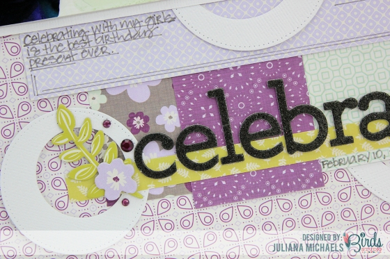 Juliana Michaels Celebrate Scrapbook Page for 3 Birds Studio detail 1