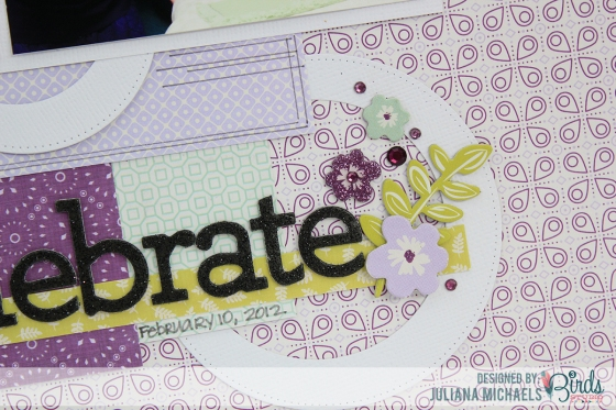 Juliana Michaels Celebrate Scrapbook Page for 3 Birds Studio detail 2