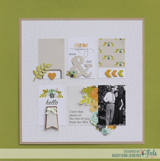 Mary Ann Jenkins Mom And Dad Scrapbook Page for 3 Birds Studio 01