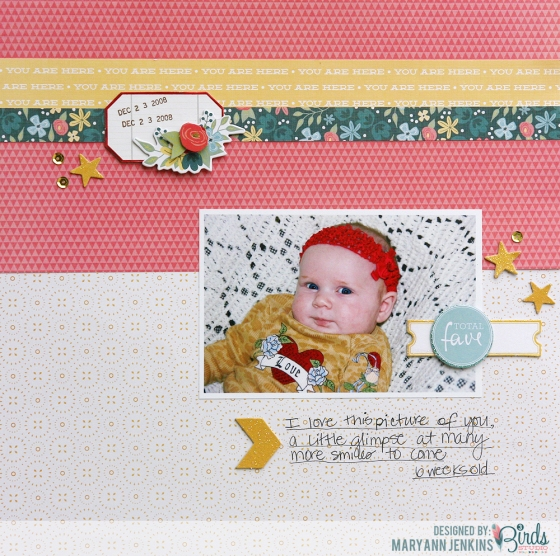 Total Fave Scrapbook Page by Mary Ann Jenkins for 3 Birds Studio
