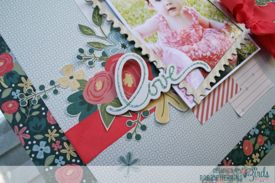 Love Scrapbook Page by Robbie Herring for 3 Birds Studio detail 3