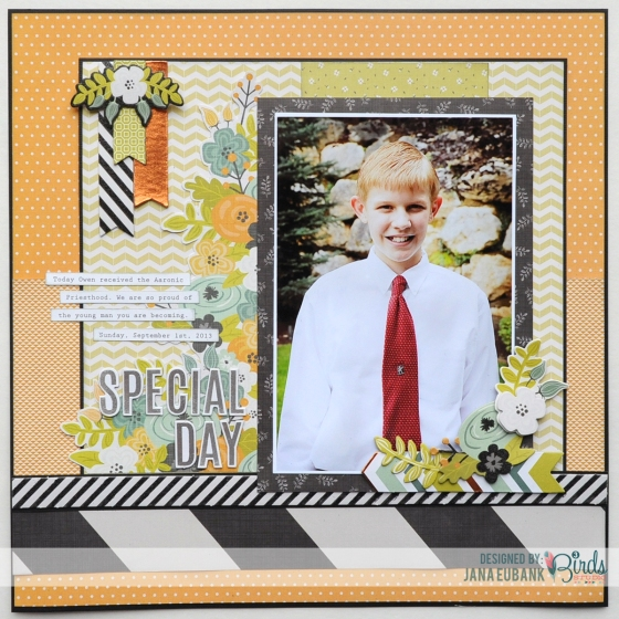 Special Day Scrapbook Page by Jana Eubank for 3 Birds Studio