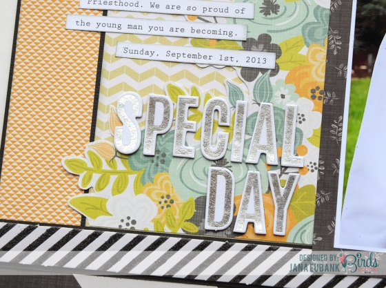 Special Day Scrapbook Page by Jana Eubank for 3 Birds Studio detail 4