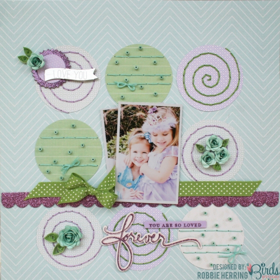 Forever Scrapbook Page by Robbie Herring for 3 Birds Studio using the Graceful Season collection 01