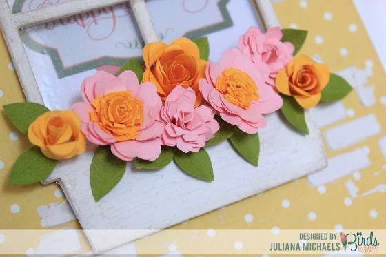 Happy Birthday Window Box Quilled Flower Card by Juliana Michaels for 3 Birds Studio using the Graceful Season Collection available on HSN.com