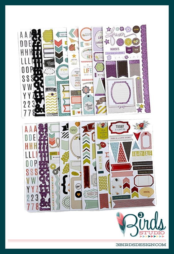 3 Birds Studio Graceful Season Sticky Sparkly Chipboard Collection on HSN