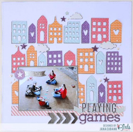 Playing Games Scrapbook Page by Jana Eubank for 3 Birds Studio 01