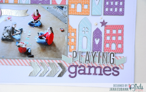 Playing Games Scrapbook Page by Jana Eubank for 3 Birds Studio 03