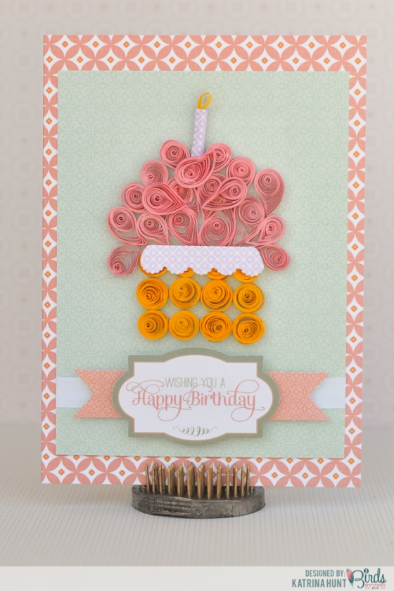Quilled Happy Birthday Cupcake Card by Katrina Hunt for 3 Birds Studio using the Graceful Season Quilled Cardmaking