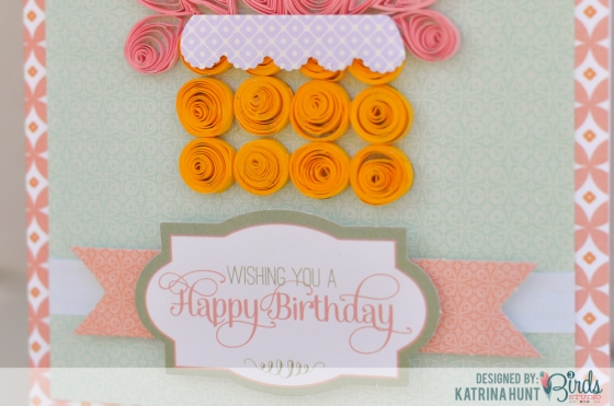 Quilled Happy Birthday Cupcake Card by Katrina Hunt for 3 Birds Studio