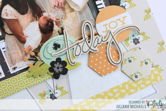 Today It is True Baptism Scrapbook Page by Juliana Michaels for 3 Birds Studio using the Graceful Season Collection available on HSN.com