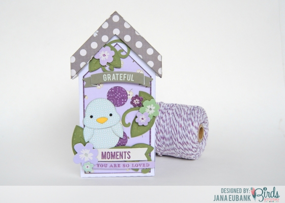 Bird house gift box by Jana Eubank for 3 Birds Studio using the Graceful Season collection available on HSN.com