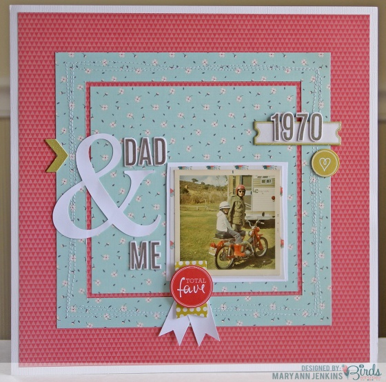 Dad And Me Scrapbook Page by Mary Ann Jenkins for 3 Birds Studio using Graceful Season HSN.com 3birdsdesign.com