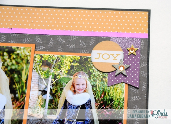 Halloween Princess Scrapbook Page by Jana Eubank for 3 Birds Studio using Graceful Season collection available on HSN.com