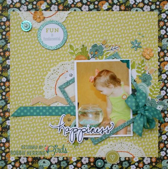Happiness Scrapbook Page by Robbie Herring using 3 Birds Studio Graceful Season HSN.com 3birdsdesign.com