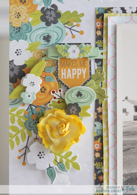 I Adore you Scrapbook Page by Mary Ann Jenkins for 3 Birds Studio using Graceful Season Collection available on HSN.com