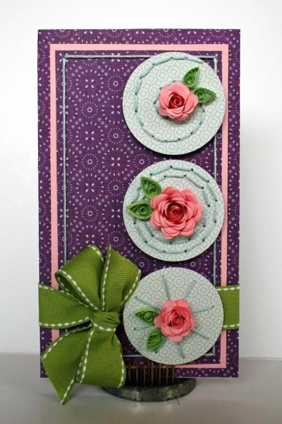 Quilled Roses Card by Robbie Herring using 3 Birds Studio Graceful Season collection HSN.com 3birdsdesign.com