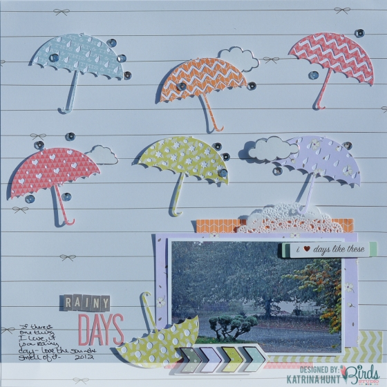 Rainy Days Scrapbook Page by Katrina Hunt for 3 Birds Studio using Graceful Season Collection available on HSN.com