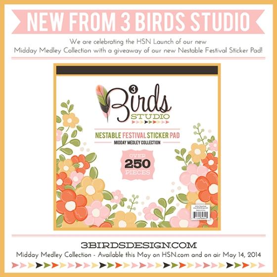 3 Birds Design Midday Medley Nestable Festival Sticker Pad Giveaway HSN.com 3birdsdesign.com