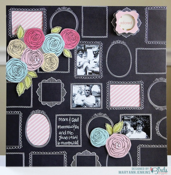 Adored Scrapbook Page by Mary Ann Jenkins for 3 Birds Design #3birdsdesign #scrapbookpage #middaymedley