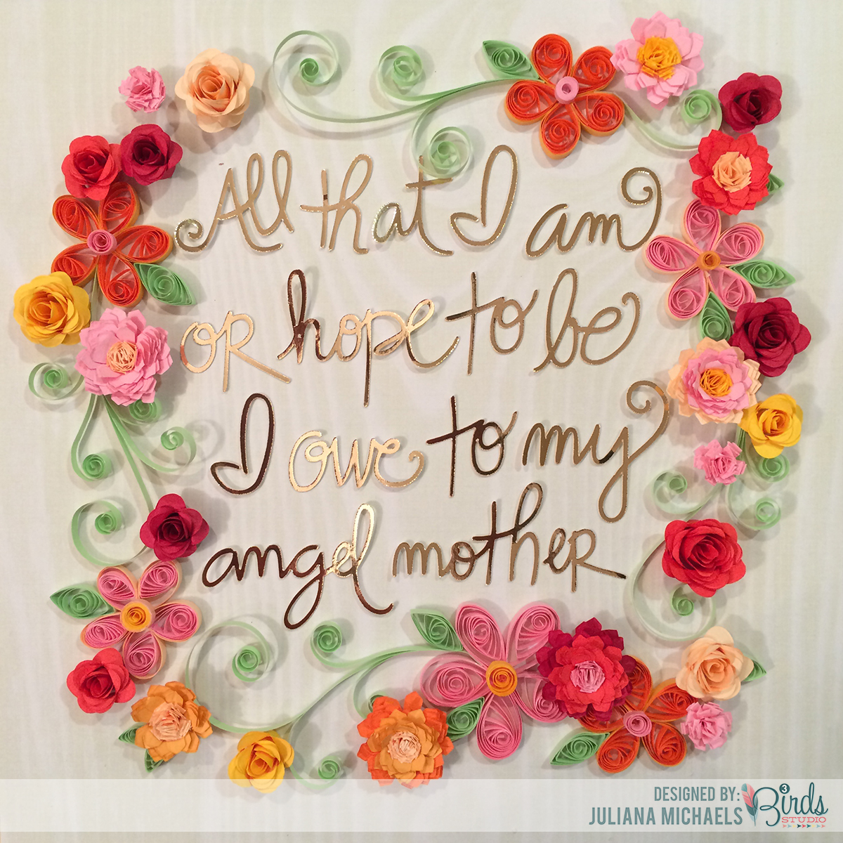 determing the position for the words and flowers quilled mothers day frame - Mothers Day Picture Frame