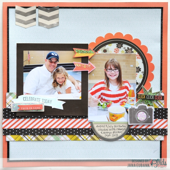 Celebrate Today Scrapbook Page by Jana Eubank for 3 Birds Studio #3birdsdesign #scrapbookpage #middaymedley