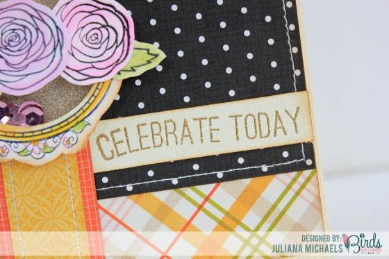 Celebrate Today Shaker Card by Juliana Michaels for 3 Birds Studio #3birdsdesign #shakerbox #card #middaymedley