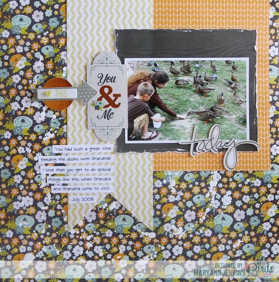 Feeding The Ducks Scrapbook Page by Mary Ann Jenkins 3 Birds Design Graceful Season Collection HSN.com 3birdsdesign.com