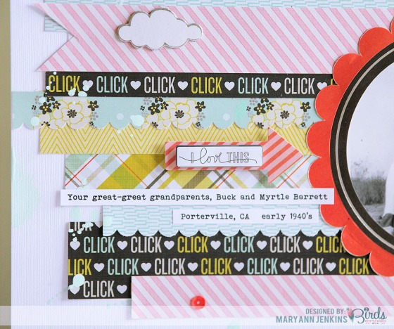For The Record Scrapbook Page by Mary Ann Jenkins for 3 Birds Design #3birdsdesign #scrapbookpage #middaymedley