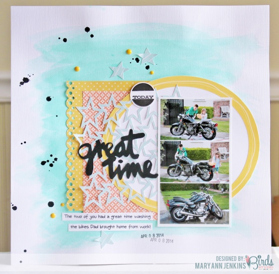 Great Time Scrapbook Page by Mary Ann Jenkins for 3 Birds Design 3birdsdesign.com #3birdsdesign #middaymedley #gracefulseason #scrapbookpage