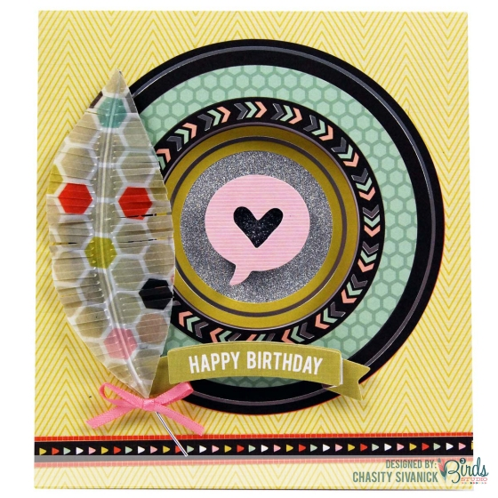 Happy Birthday Window Card by Chasity Sivanick for 3 Birds Design #3birdsdesign #middaymedley #birthdaycard