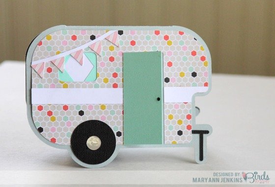 Happy Camper Card by Mary Ann Jenkins for 3 Birds Design #3birdsdesign #middaymedley #card #camper