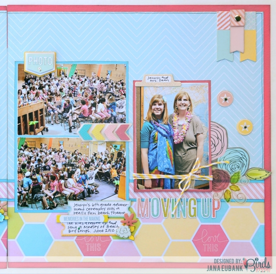 Moving Up Scrapbook Page by Jana Eubank for 3 Birds Design #3birdsdesign #scrapbookpage #middaymedley #gracefulseason