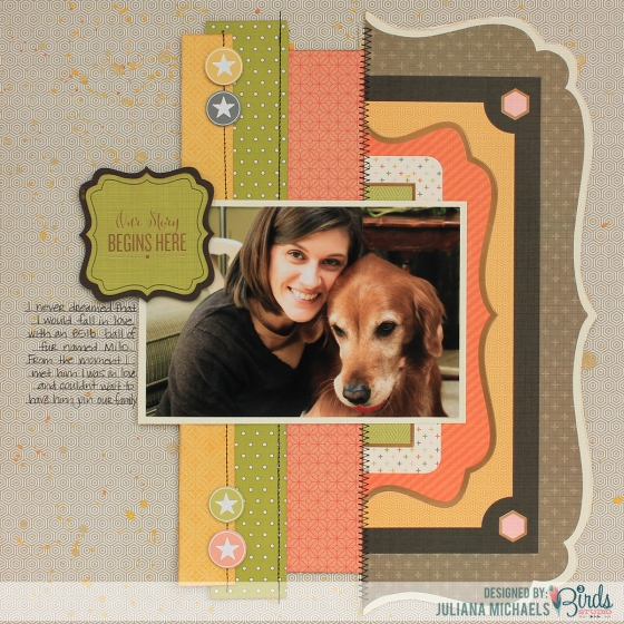 Our Story Begins Here Scrapbook Page by Juliana Michaels for 3 Birds Design #3birdsdesign #scrapbookpage #middaymedley
