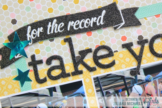 Take Your Mark Scrapbook Page by Juliana Michaels for 3 Birds Studio #3birdsdesign #middaymedley #gracefulseason #scrapbookpage