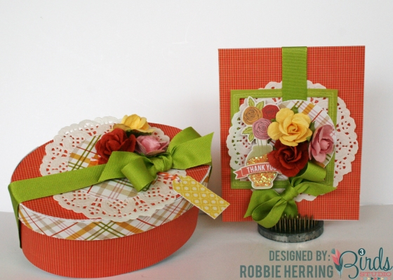 Card and Gift Box Set by Robbie Herring for 3 Birds Design #3birdsdesign #middaymedley #thankyoucard #giftbox