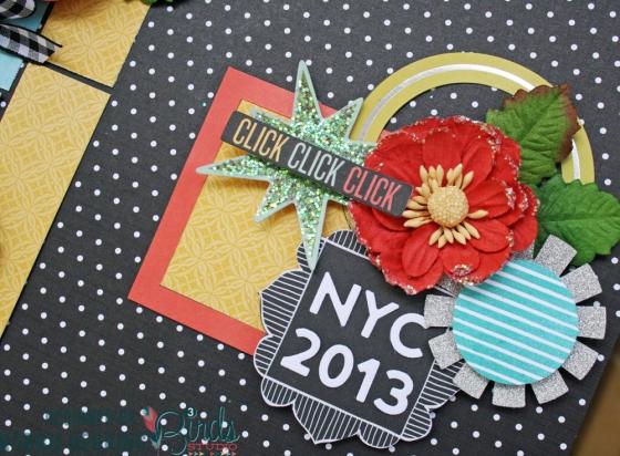 NYC Scrapbook Page by Robbie Herring for 3 Birds Design #3birdsdesign #middaymedley #scrapbookpage