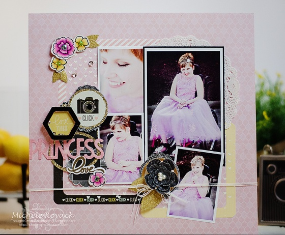 Princess Love Scrapbook Page by Michele Kovack Guest Designer for 3 Birds Design #3birdsdesign #middaymedley #scrapbookpage
