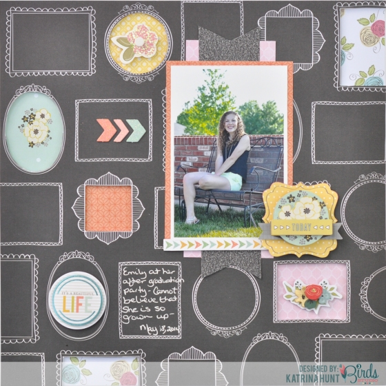 Today Scrapbook Page by Katrina Hunt for 3 Birds Design #3birdsdesign #scrapbook page #middaymedley