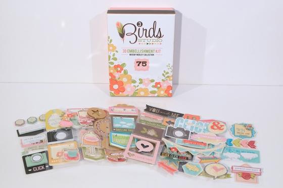 3 Birds Design Midday Medley 3D Embellishment Kit #3birdsdesign #middaymedley #embellishments