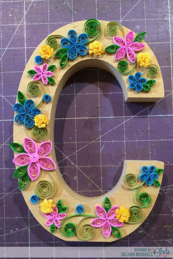 Altered Wood Letter with Quilling Juliana Michaels 3 Birds Design