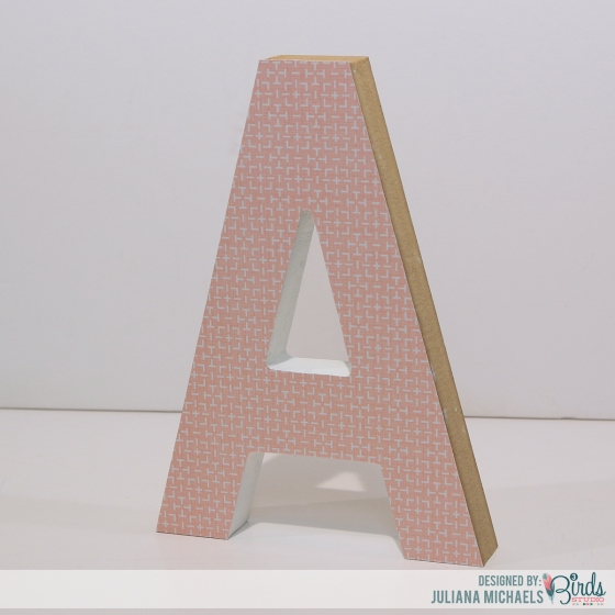 Altered Wood Letter covered with patternd paper #3birdsdesign #alteredletter #homedecor