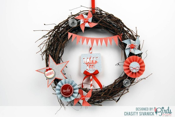 July 4th Wreath by Chasity Sivanick for #3birdsdesign #gracefulseasons #middaymeadley #homedecor