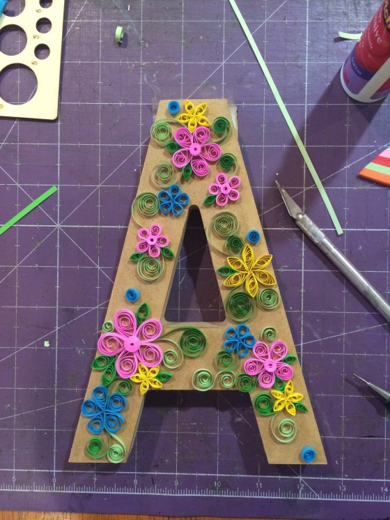 Placement of Quilled Flowers on Wood Letter #3birdsdesign #alteredletter #homedecor