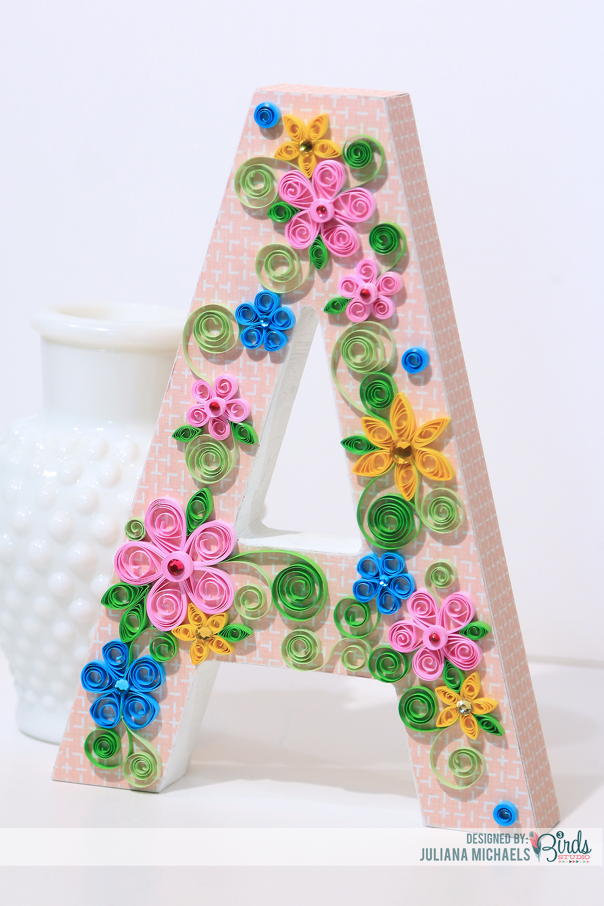 quilled altered wood letter by juliana michaels 3birdsdesign quilling homedecor alteredletter