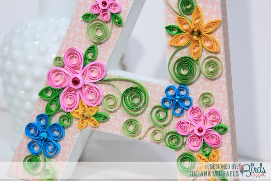 Quilled Altered Wood Letter by Juliana Michaels #3birdsdesign #quilling #homedecor #alteredletter