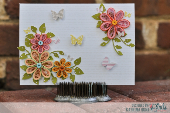 Quilled Flower Card by Katrina Hunt #3birdsdesign #quilling #card #quillease