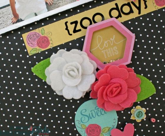Zoo Day Scrapbook Page by Robbie Herring for 3 Birds Design #3birdsdesign #scrapbookpage #middaymedley