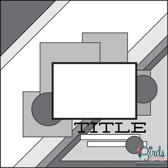 3 Birds Design Scrapbook Page Sketch August